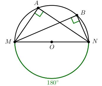 Окружность: вписанный угол, опирающийся на диаметр равен 90 градусов