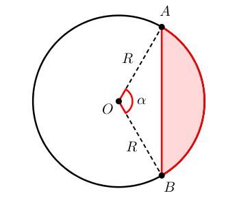 Сегмент окружности радиуса R