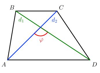 Трапеция: площадь трапеции равна полупроизведению диагоналей на синус угла между ними